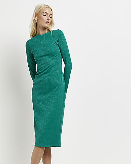 Green ribbed bodycon dress