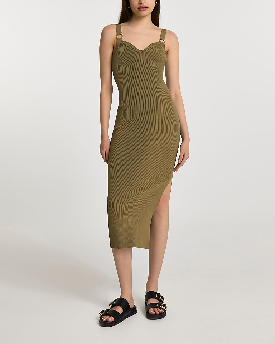 Green ribbed knitted dress