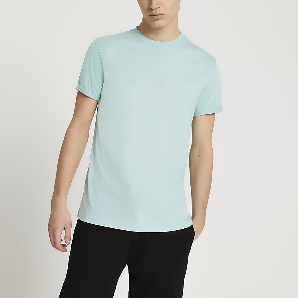 Green rolled sleeve slim fit t-shirt