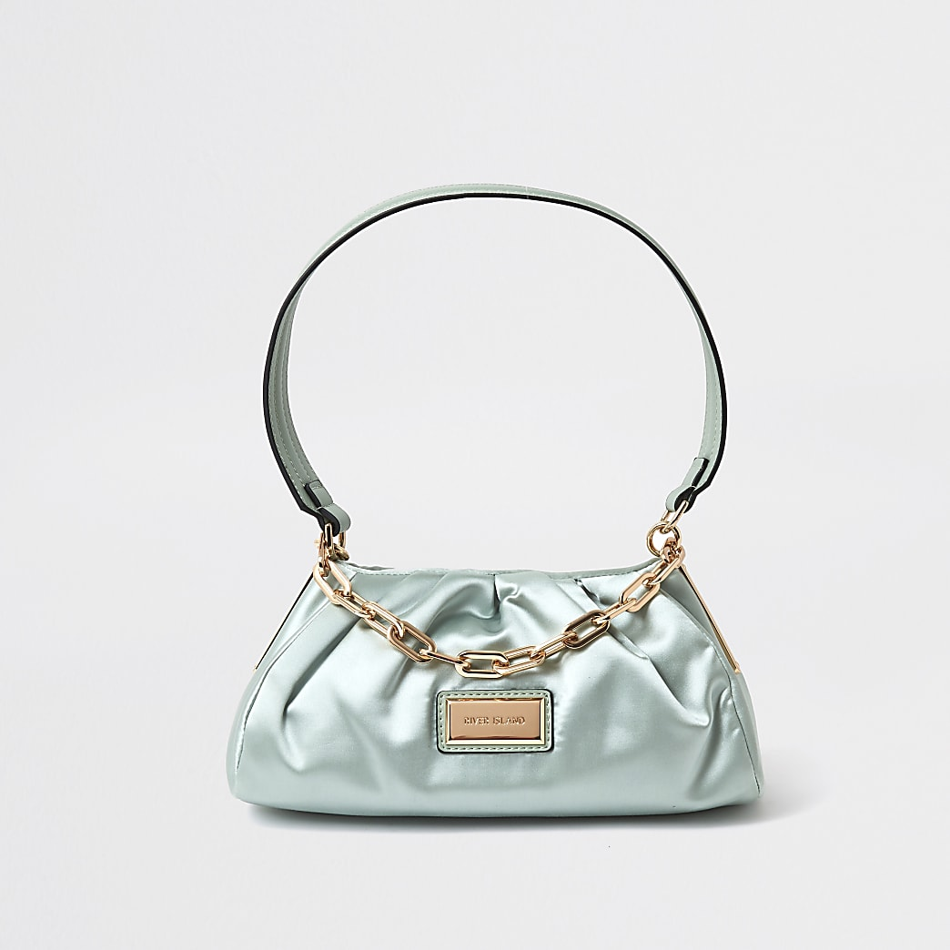 Green rouched satin underarm handbag