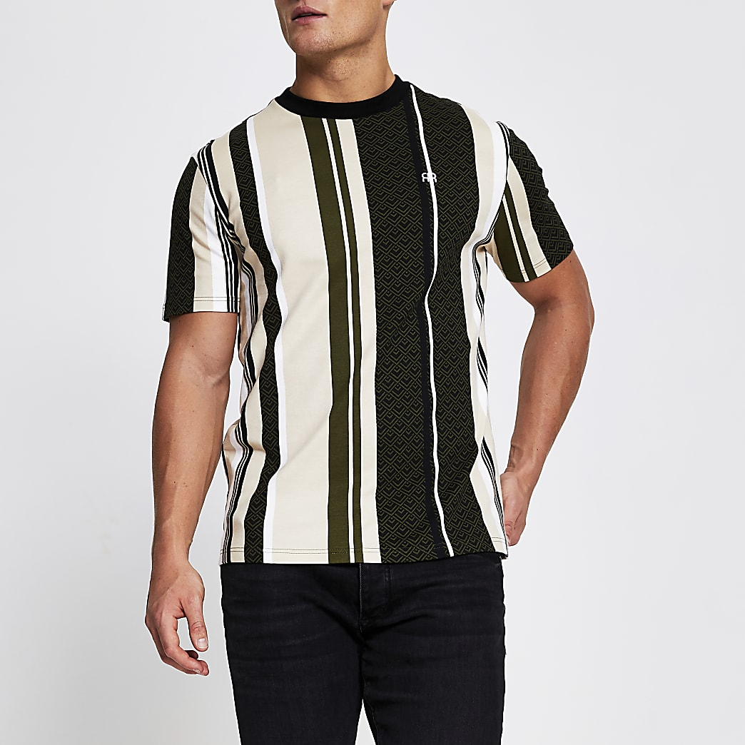 Green 'RR' stripe short sleeve t-shirt