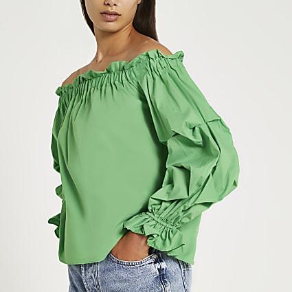 Green ruched long sleeve bardot top