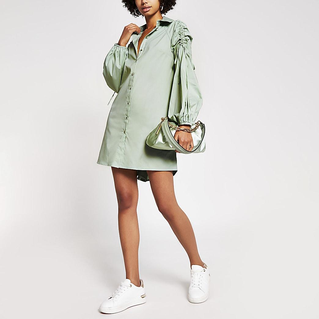 Green ruched sleeve mini shirt dress