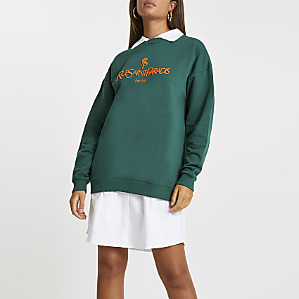 Green 'Rue saint' collar 2in1 sweatshirt