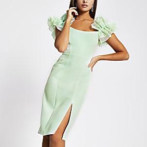 Green ruffle sleeve bodycon midi dress