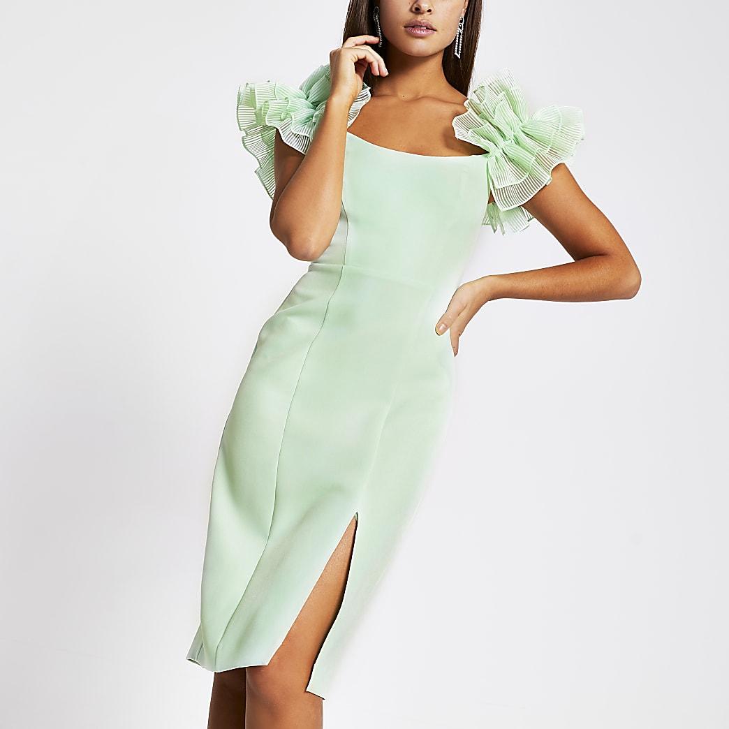 Grünes Bodycon-Kleid in Midilänge mit Rüschenärmeln