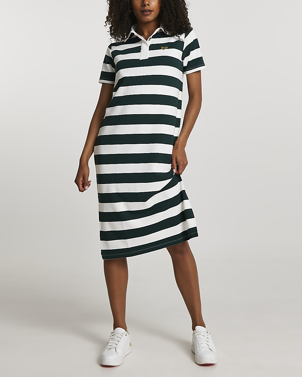 Green rugby style polo midi dress