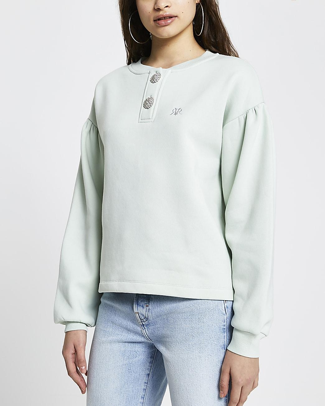 Green 'RVR' diamante button sweatshirt