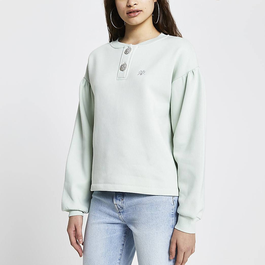 Green 'RVR' diamante button sweatshirt