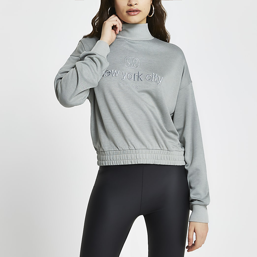 Green RVR 'New York City' crop sweatshirt