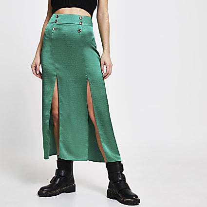 Green satin double split midi skirt