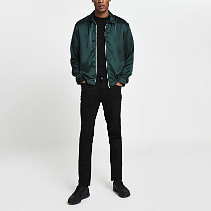 Green satin long sleeve shacket