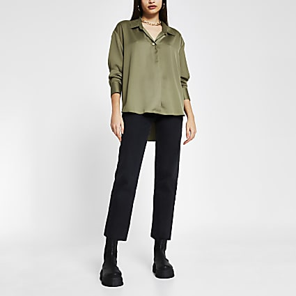 Green satin long sleeve shirt