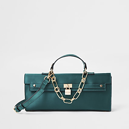 Green satin padlock handbag