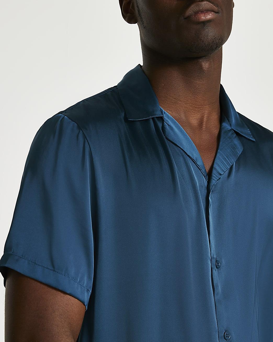 Green satin revere short sleeve shirt