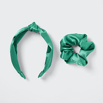 Green scrunchie and alice headband