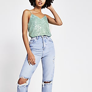 Green sequin cami top