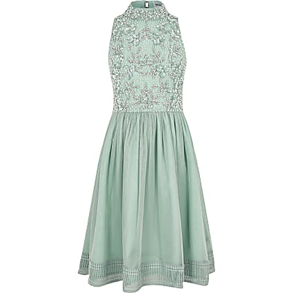 Green sequin embellished prom dress