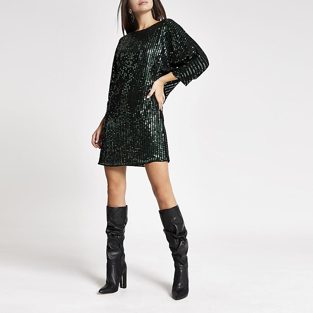 Green sequin embellished shift dress