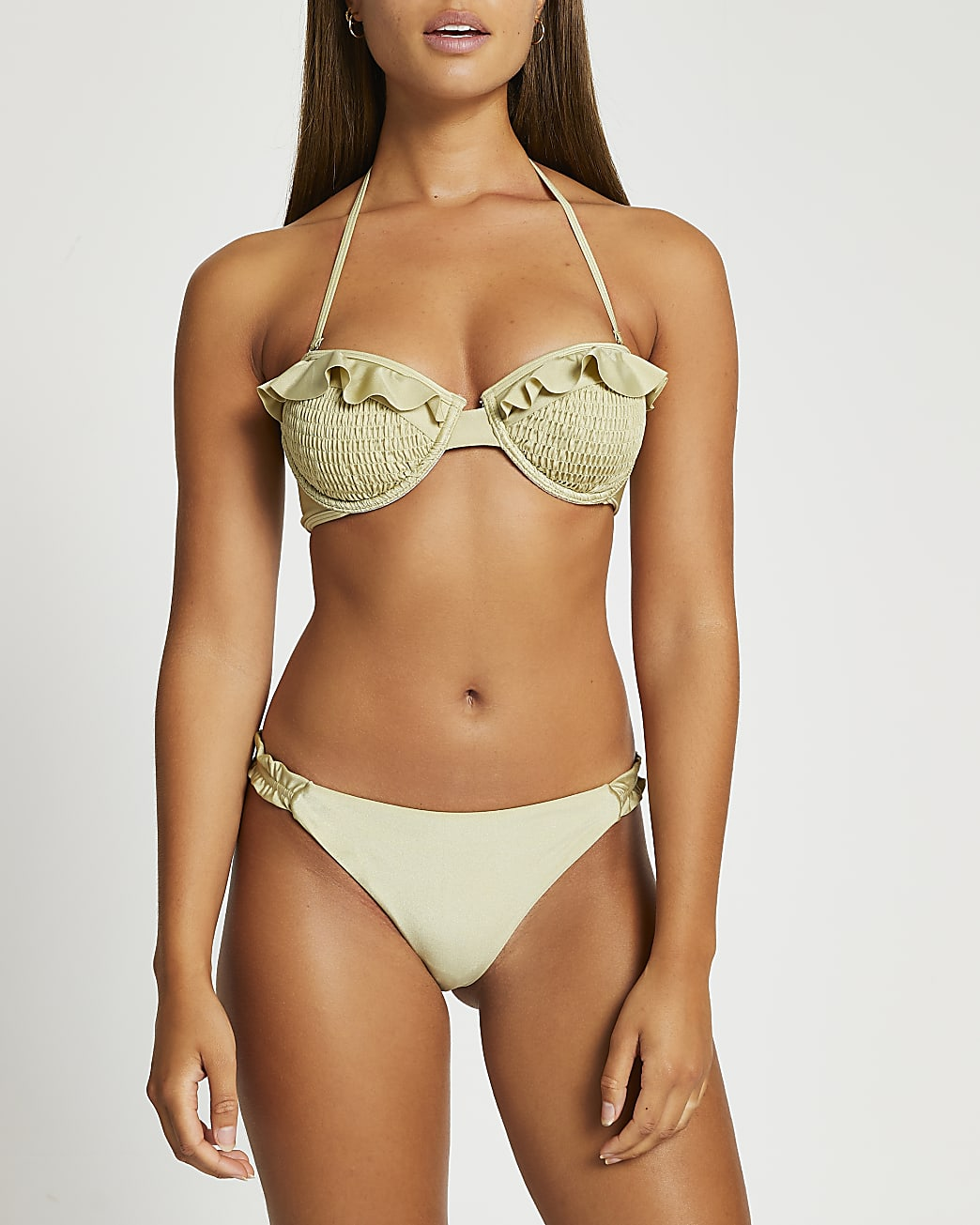 Green shirred frill side bikini brief