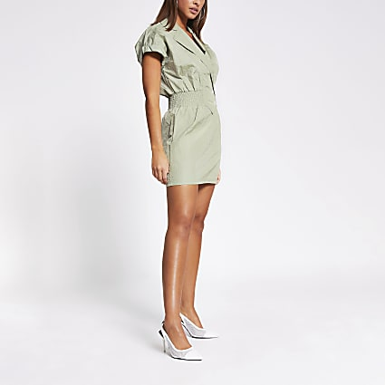 Green shirred waist mini dress