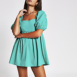 Green short puff sleeve playsuit