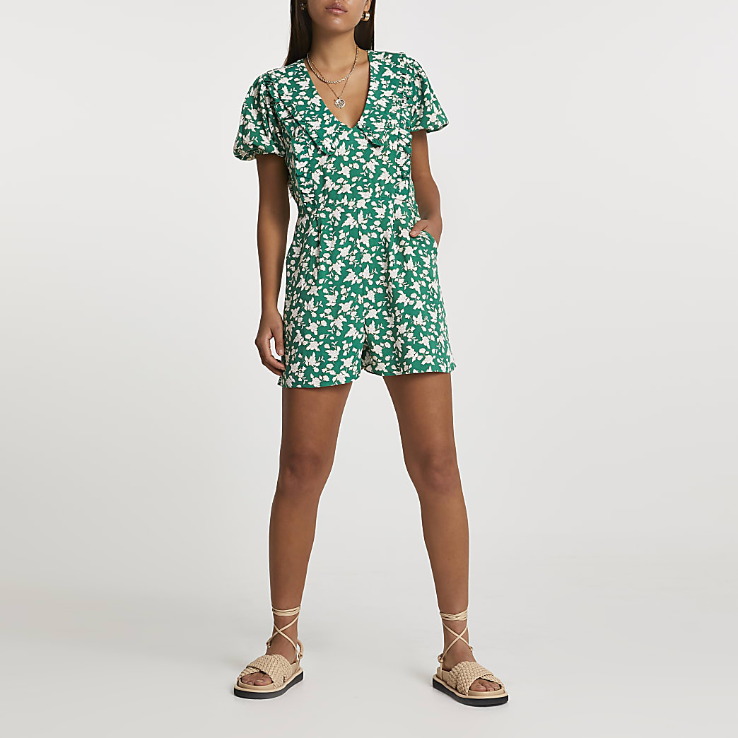 Green short sleeve floral collared playsuit