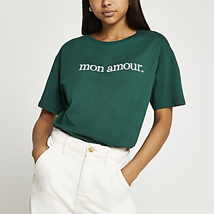 """Green short sleeve """"Mon Amour"""" t-shirt"""