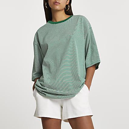 Green short sleeve oversized stripe t-shirt
