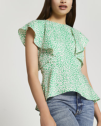 Green short sleeve peplum blouse