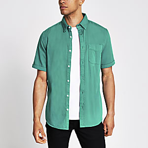 Green short sleeve regular fit twill shirt