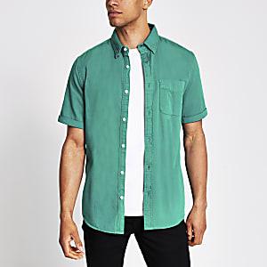 Groen regular-fit overhemd met korte mouwen van keperstof