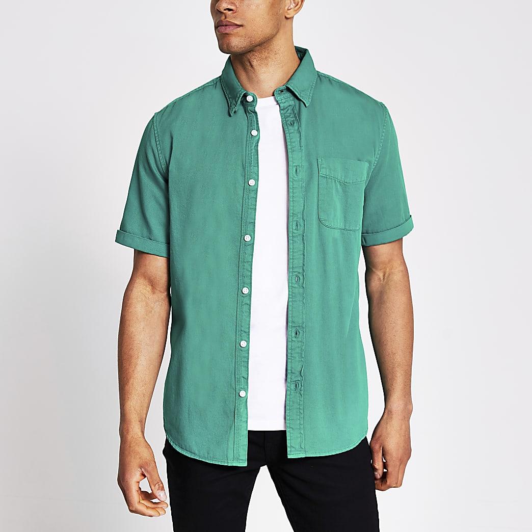 Green short sleeve regular fit twill shirt