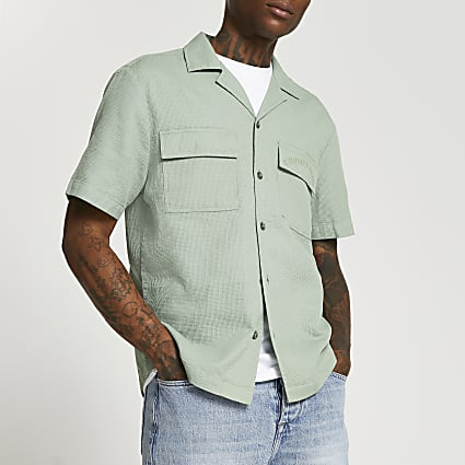 Green short sleeve safari shirt