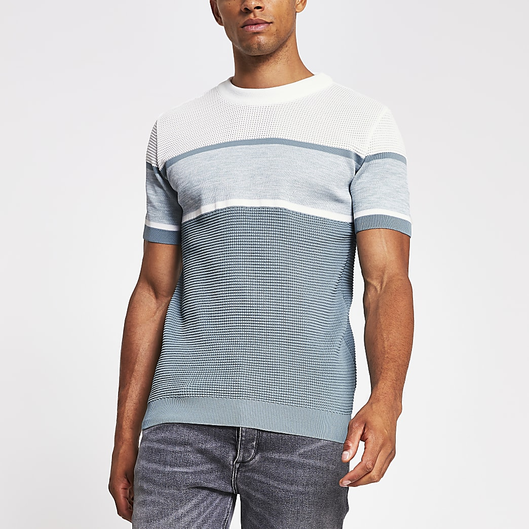 Green short sleeve slim fit knitted t-shirt