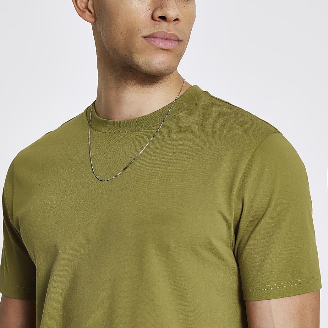 Groen slim-fit T-shirt met korte mouwen