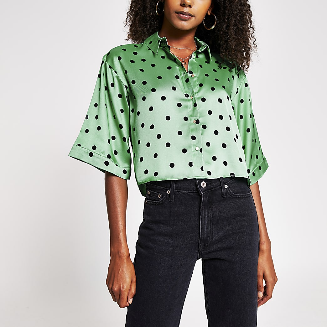 Green short sleeve spot print boxy shirt