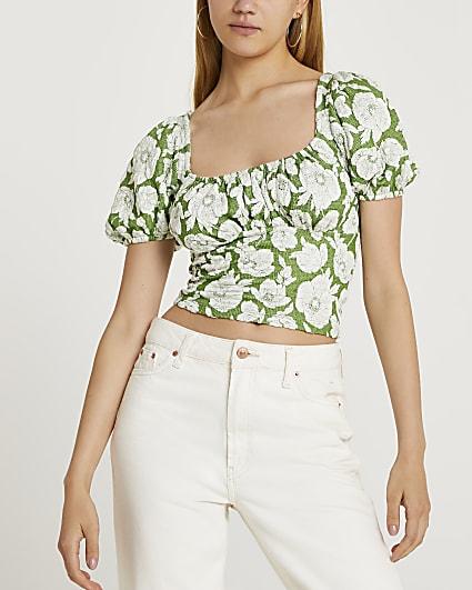 Green short sleeve tie detail floral crop