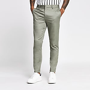 Green skinny chino trousers