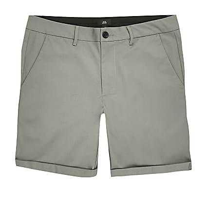 Green skinny fit chino shorts