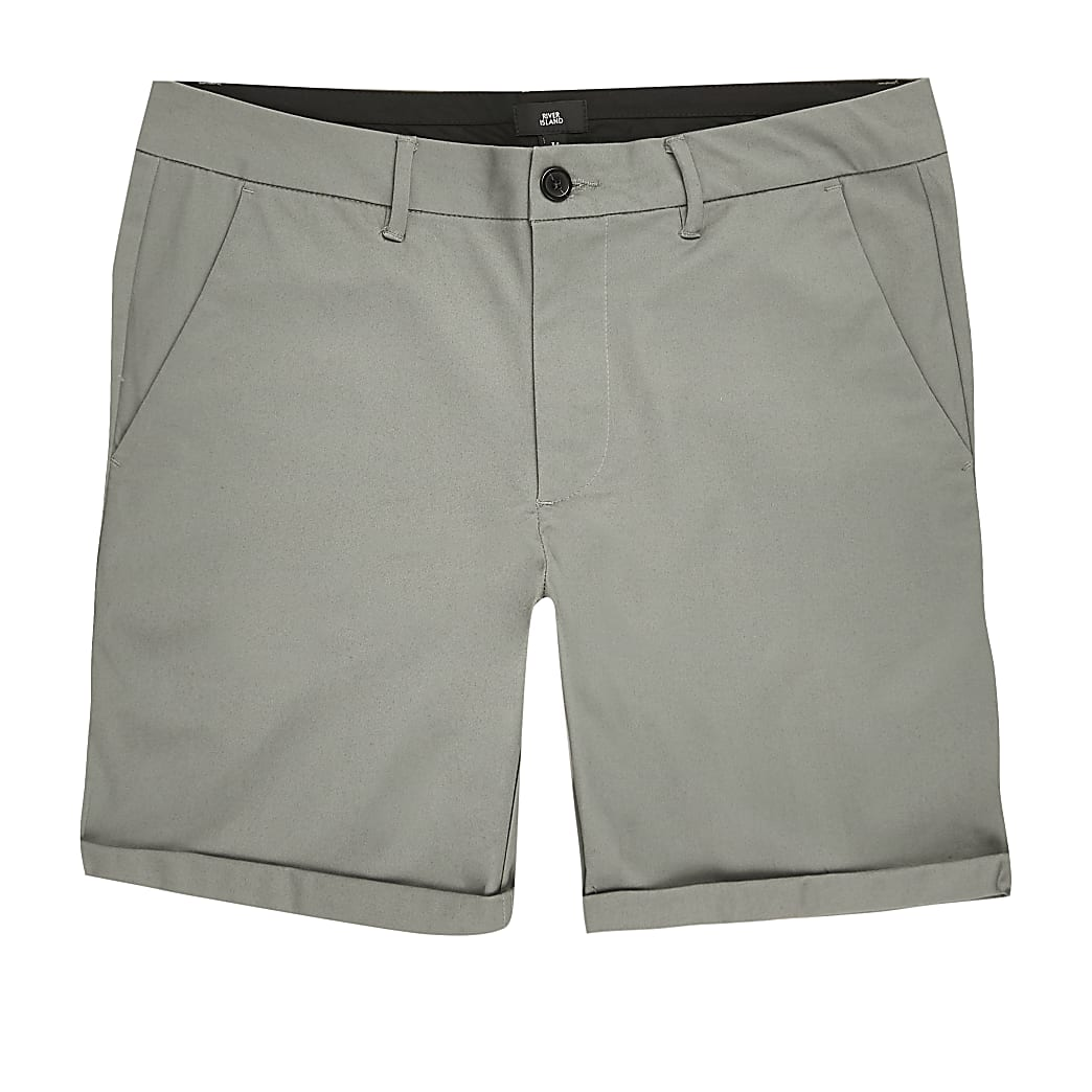 Green skinny fit chino shorts
