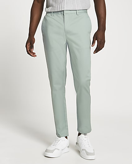 Green skinny fit chino trousers