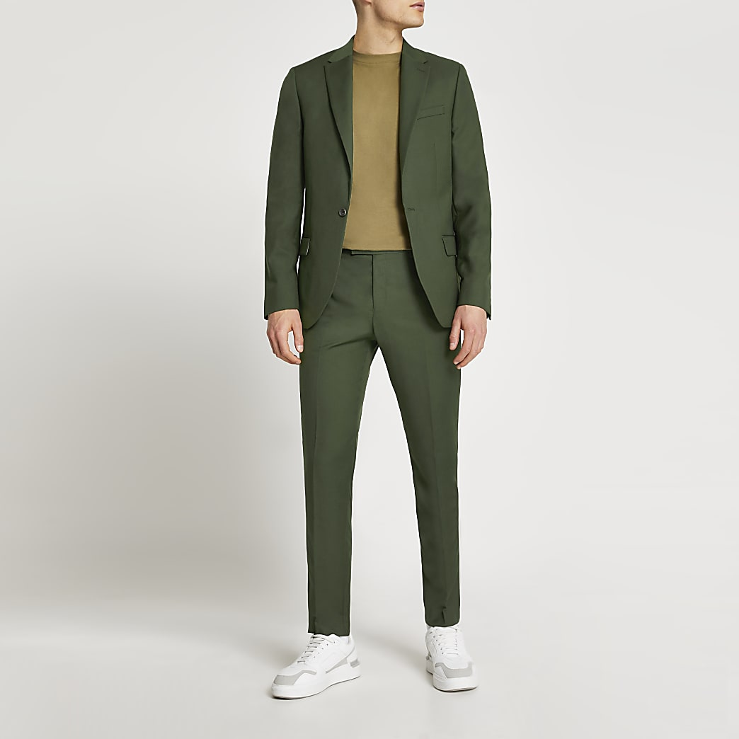 Green skinny fit suit jacket
