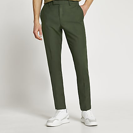 Green skinny fit suit trousers