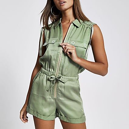 Green sleeveless tie waist playsuit