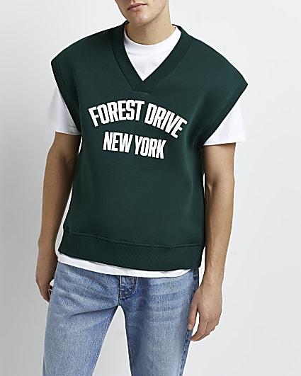 Green sleeveless v neck sweatshirt vest
