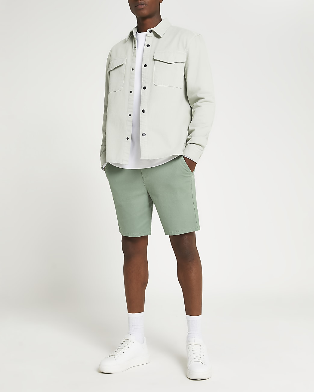 Green slim fit chino shorts
