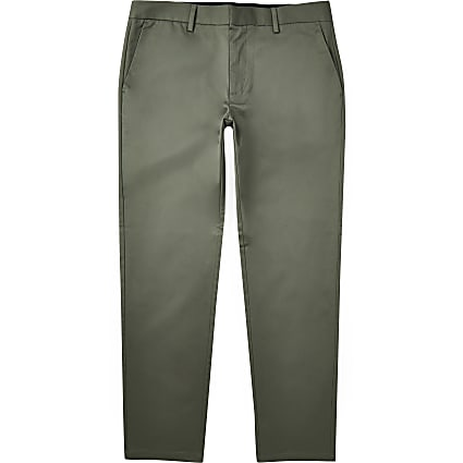 Green slim fit chino trousers