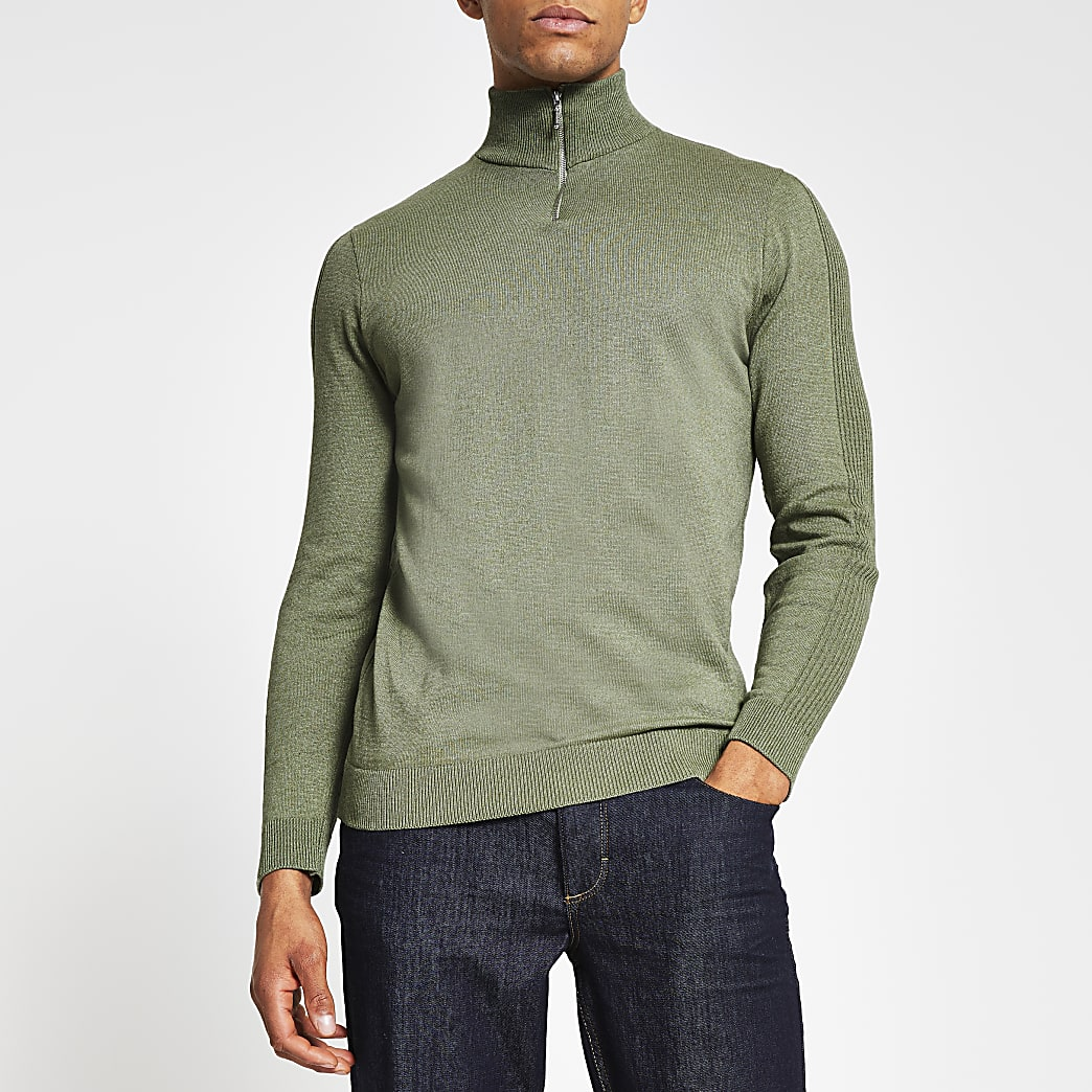 Green slim fit long sleeve half zip jumper
