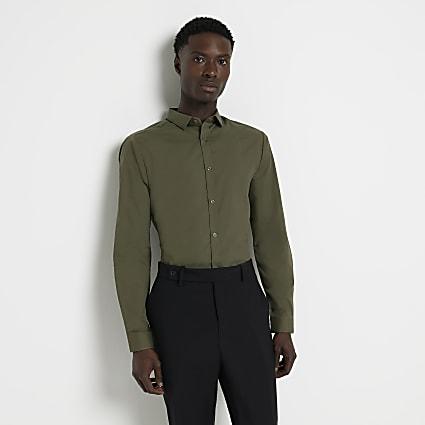 Green slim fit long sleeve shirt